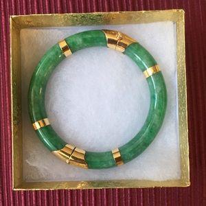 Emerald Jade & 999 24 K Yellow Gold Bangle